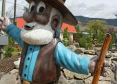 Cariboo Sam welcomes tourists to the downtown of Cache Creek!  Under this project, the local chamber of commerce is focused on extending that welcome to tourists to shop at local businesses.
