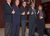 Thumbs up to the new CN Intermodal container port in Prince George, say MLAs Shirley Bond, John Rustad and Transportation Minister Kevin Falcon. November 24, 2007.