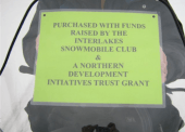 A new snowmobile was purchased by the Interlakes Snowmobile club to be used for trail maintenance and grooming.