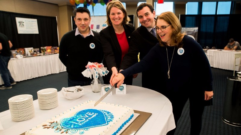 Kicking off the Love Prince Rupert celebrations by cutting the cake. From left to right: Paul Vendittelli (Economic Development Office, City of Prince Rupert), Jennifer Rice (MLA, North Coast), Lee Brain (Mayor, City of Prince Rupert), Janine North (CEO, Northern Development Initiative Trust).